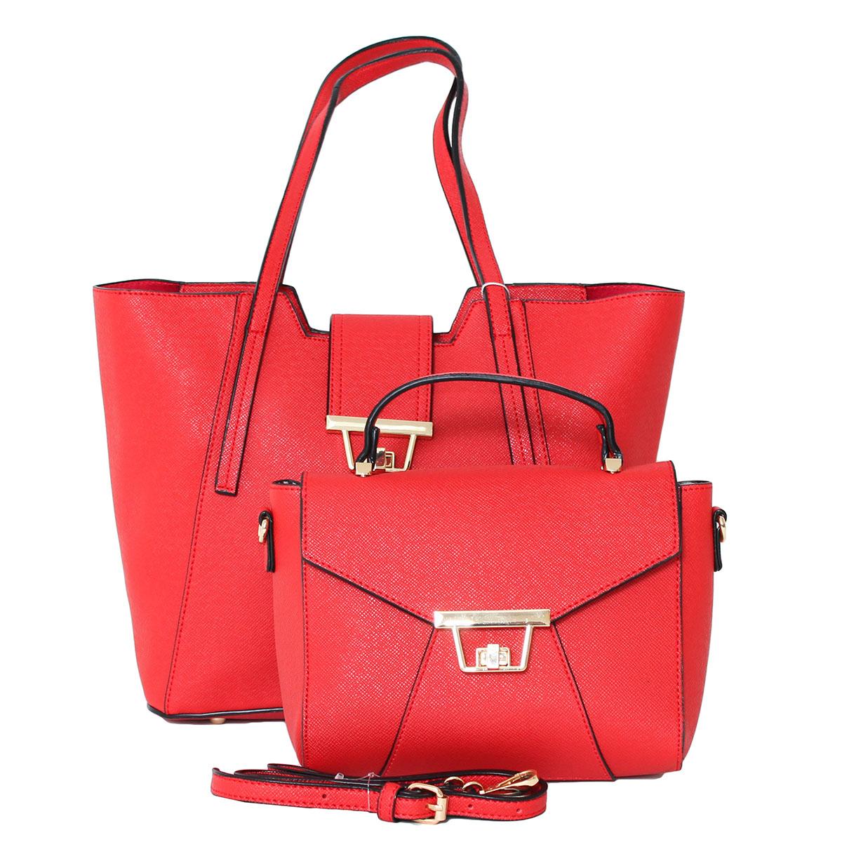 Сумка женский Flioraj, цвет: красный. 0005215200052152В комплекте две сумки. Одна сумка (29 х 14 х 27, высота ручки - 26) закрывается на молнию, внутри одно отделение. Вторая сумка (22 х 11 х 17, высота ручки - 7) закрывается на декоративный клапан, внутри одно отделение, один открытый карман. Длинный ремень
