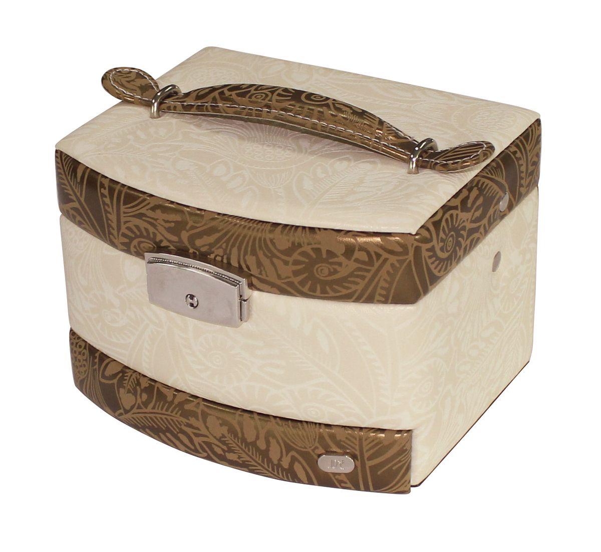 Шкатулка для украшений Jardin DEte, мини, цвет: белый, золотой. WG003JWG003JОдним из необходимых аксессуаров на туалетном столике любой женщины являются шкатулки для украшений. Шкатулки JARDIN DETE — идеальны для хранения драгоценностей, а также других мелких вещей .Современные формы, дизайн, отделка, разнообразие цветовых решений не оставят равнодушной ни одну модницу. Коллекция шкатулок для ювелирных украшений включает в себя более двадцати моделей, представленных в различных цветовых решениях. Особенности: 2 отделения (5 секций, держатели для колец), выдвижной ящичек, зеркало.
