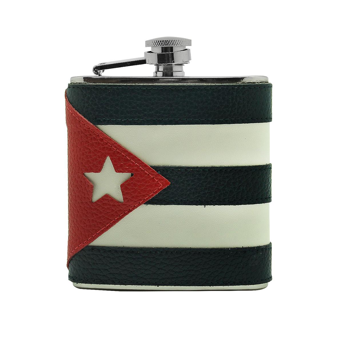 Фляга Экспедиция Куба, цвет: синий, белый, красный, 0,17 лeflgs-02Кожаная фляжка Куба - отличный подарок для почитателей прекрасной и свободолюбивой латиноамериканской страны! Эта подарочная фляга с изображением кубинского флага наилучшим образом подчеркивает необычный стиль своего обладателя, отображает его характер и независимый дух. Фляжка изготовлена из нержавеющей стали с обшивкой из натуральной кожи - классическое сочетание, неподвластное течению времени. Кожаная фляжка Куба очень компактна и практична: она занимает совсем немного места в вашем кармане, рюкзаке или сумке, так что ее постоянно можно брать с собой в любые путешествия. Сделайте себе или близким отличный подарок, всегда радующий глаз! Характеристики флагофляги Куба: - материал - нержавеющая сталь; - отделка - натуральная кожа; - объем - 0,17 л; - размеры - 95 х 115 х 30 мм.