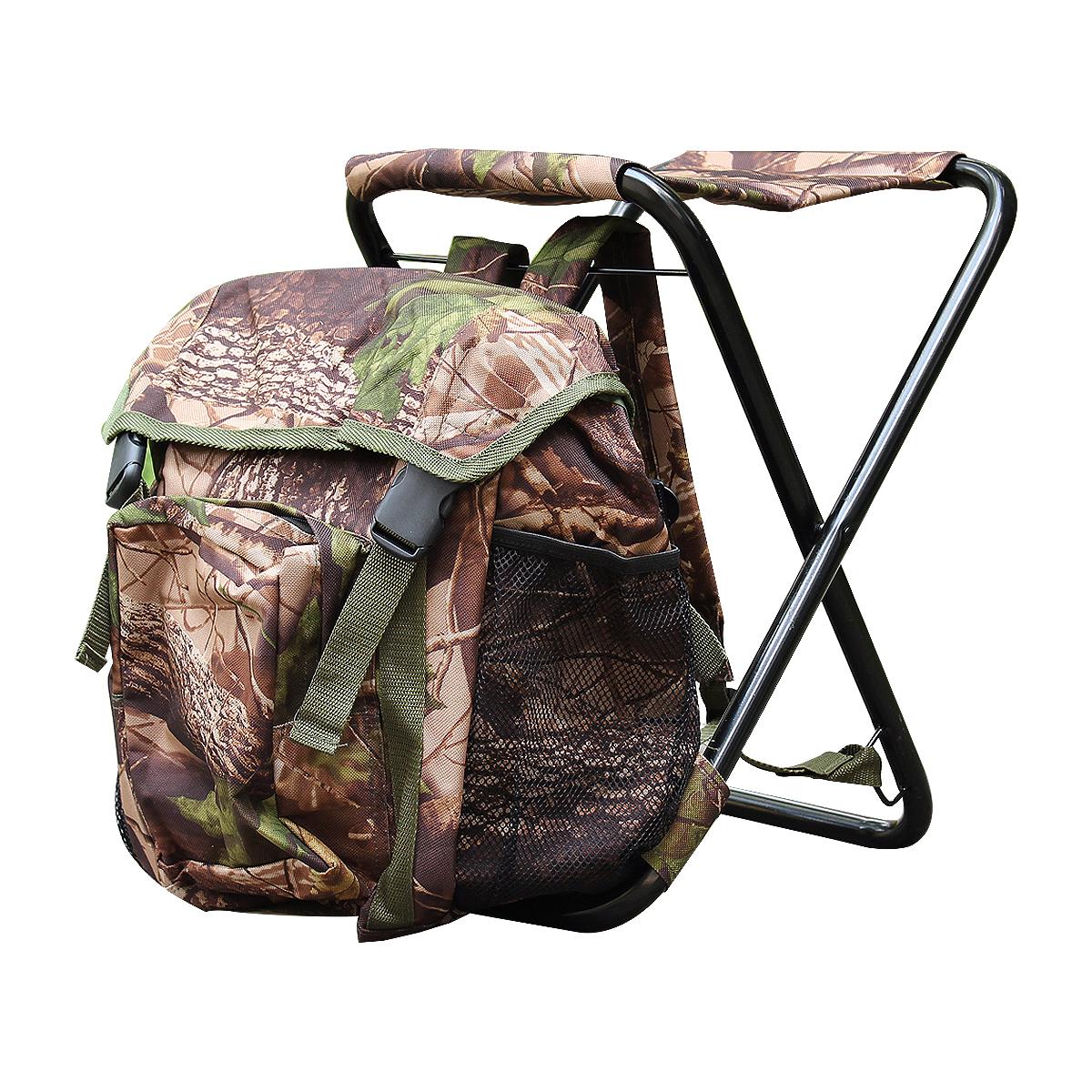Стул-рюкзак Экспедиция Сезон охоты, камуфлированный. EWCL-07EWCL-07Уникальная конструкция стула-рюкзака совмещает в себе два незаменимых предмета в походах и выездах на природу – вместительный рюкзак и удобный складной стул, выдерживающий до 120 кг весу. Благодаря рюкзаку стул очень удобен при транспортировки, изготовлен из прочной, но легкой стали и брезентовой ткани. Эти свойства станут незаменимыми в эксплуатации. Сам рюкзак имеет одно большое отделение и множество отсеков под самые различные предметы (термос, мобильный телефон, фонарик и др.). Специальная конструкция стула позволяет поставить его даже на самой неровной поверхности.