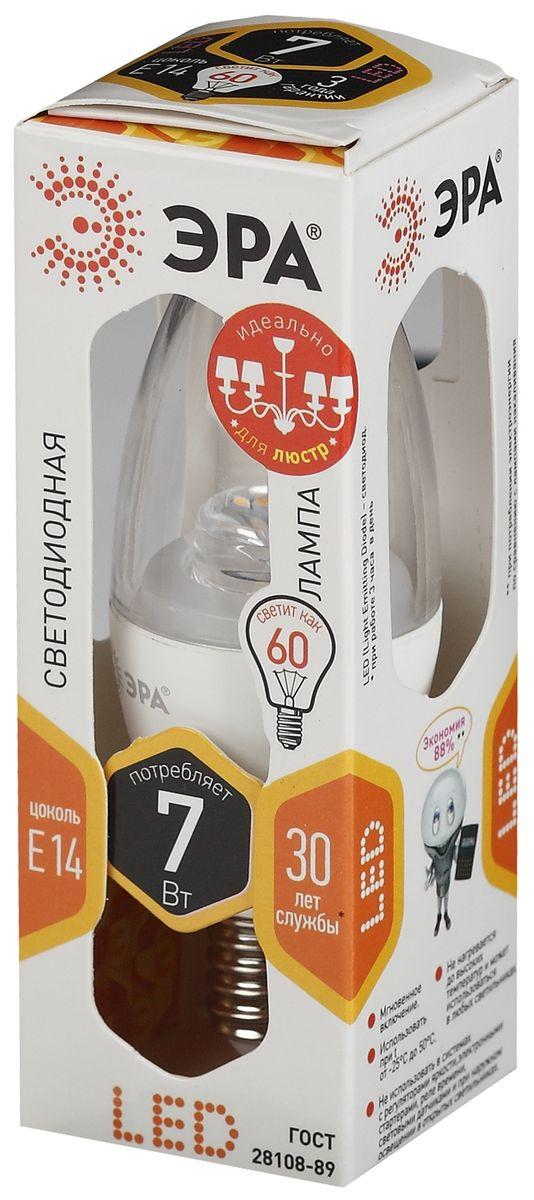 Лампа светодиодная ЭРА, LED smd B35-7w-827-E14-Clear. Б00123395055398685952