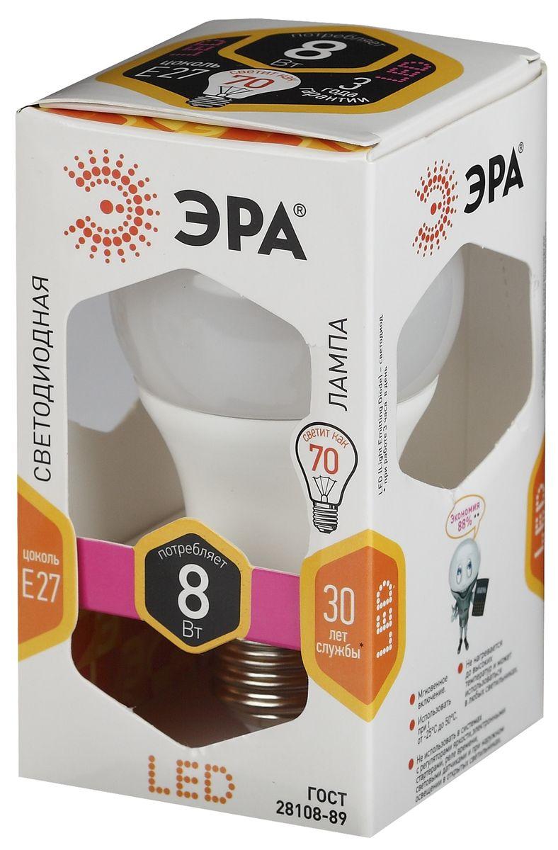 Лампа светодиодная ЭРА, LED smd A60-8w-827-E275055945503012