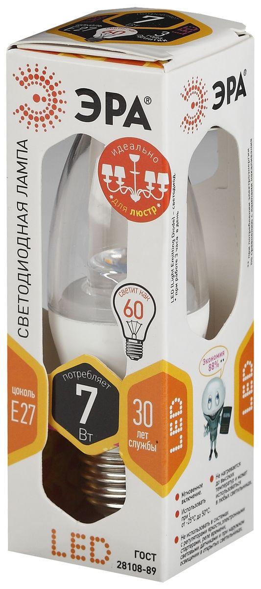 Лампа светодиодная ЭРА, LED smd B35-7w-827-E27-Clear5055945518382
