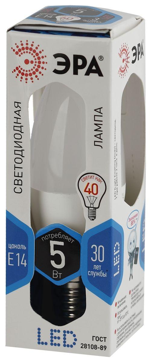 Лампа светодиодная ЭРА F-LED, цоколь E14, 170-265V, 5W, 4000К. B35-5w-840-E14 лампа светодиодная эра f led b35 5w 840 e14