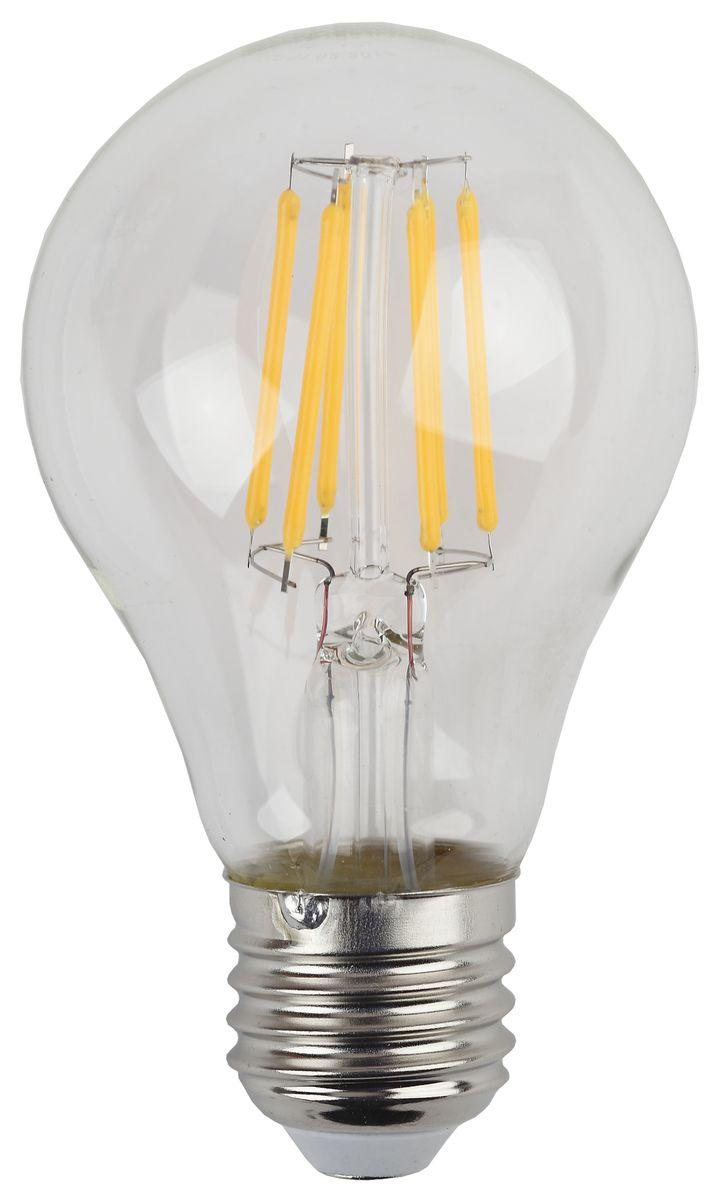 Лампа светодиодная ЭРА F-LED, цоколь E27, 170-265V, 7W, 2700К5055945528992Светодиодная лампа ЭРА F-LED является самым перспективным источником света. Основным преимуществом данного источника света является длительный срок службы и очень низкое энергопотребление, так, например, по сравнению с обычной лампой накаливания светодиодная лампа служит в среднем в 50 раз дольше и потребляет в 10-15 раз меньше электроэнергии. При этом светодиодная лампа практически не подвержена механическому воздействию из-за прочной конструкции и позволяет получить любой цвет светового потока, что, несомненно, расширяет возможности применения и позволяет создавать новые решения в области освещения. Максимально похожа на лампу накаливания, может использоваться в дизайнерских интерьерах. Угол рассеивания светового потока 360 градусов.