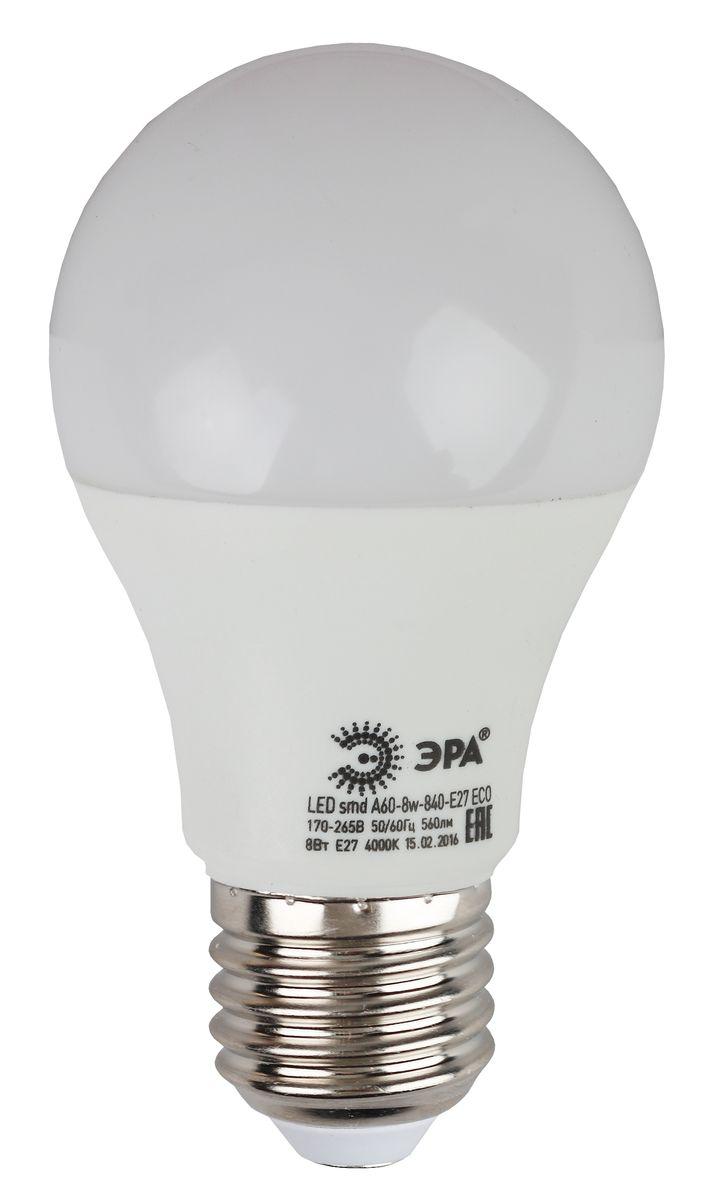 Лампа светодиодная ЭРА, цоколь E27, 170-265V, 8W, 4000К5055945536508Светодиодная лампа ЭРА является самым перспективным источником света. Основным преимуществом данного источника света является длительный срок службы и очень низкое энергопотребление, так, например, по сравнению с обычной лампой накаливания светодиодная лампа служит в среднем в 50 раз дольше и потребляет в 10-15 раз меньше электроэнергии. При этом светодиодная лампа практически не подвержена механическому воздействию из-за прочной конструкции и позволяет получить любой цвет светового потока, что, несомненно, расширяет возможности применения и позволяет создавать новые решения в области освещения. Особенности серии Eco: Предназначена для обычного потребителя Цена ниже, чем цена компактной люминесцентной лампы Световая отдача источников света - 70-80 лм/Вт Срок службы составляет 25000 часов Гарантия - 1 год. Работа в цепи с выключателем с подсветкой не рекомендована.