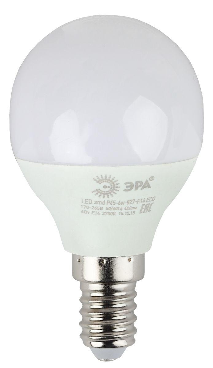 Лампа светодиодная ЭРА Eco, цоколь E14, 170-265V, 6W, 4000К. Р45-6w-840-E14 ECO5055945536584Светодиодная лампа ЭРА Eco является самым перспективным источником света. Основным преимуществом данного источника света является длительный срок службы и очень низкое энергопотребление, так, например, по сравнению с обычной лампой накаливания светодиодная лампа служит в среднем в 50 раз дольше и потребляет в 10-15 раз меньше электроэнергии. При этом светодиодная лампа практически не подвержена механическому воздействию из-за прочной конструкции и позволяет получить любой цвет светового потока, что, несомненно, расширяет возможности применения и позволяет создавать новые решения в области освещения. Серия Eco достаточна для обычного потребителя. Работа в цепи с выключателем с подсветкой не рекомендована.
