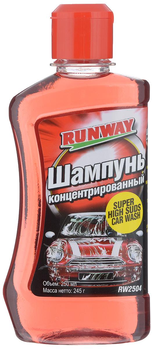 Шампунь концентрированный Runway, 250 млRW2504Специальный, суперконцентрированный шампунь Runway предназначен для мытья автомобиля. Разводится с водой в соотношении 1:320. Быстро удаляет дорожный налет, масляные и прочие загрязнения с поверхности кузова автомобиля. Не оставляет разводов после мытья. Безопасен для лакокрасочного покрытия. Хорошо растворяется как в теплой, так и в холодной воде. Не содержит фосфатов. Имеет приятный вишневый запах. Товар сертифицирован.