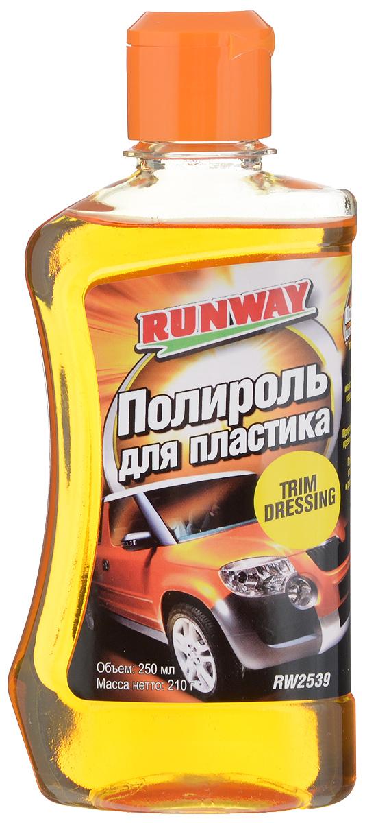 Полироль пластика Runway, 250 млRW2539Полироль Runway удаляет грязь и восстанавливает первоначальный цвет и блеск пластиковых бамперов, молдингов, торпеды, корпусов боковых зеркал, стоп-фонарей, сигналов поворота и других пластмассовых элементов внутренней и наружной отделки автомобиля. Придает поверхности превосходный, сохраняющийся долго блеск и прекрасный внешний вид. Создает стойкую водоотталкивающую защитную пленку. Предохраняет пластмассовые детали от выгорания и растрескивания. Товар сертифицирован.