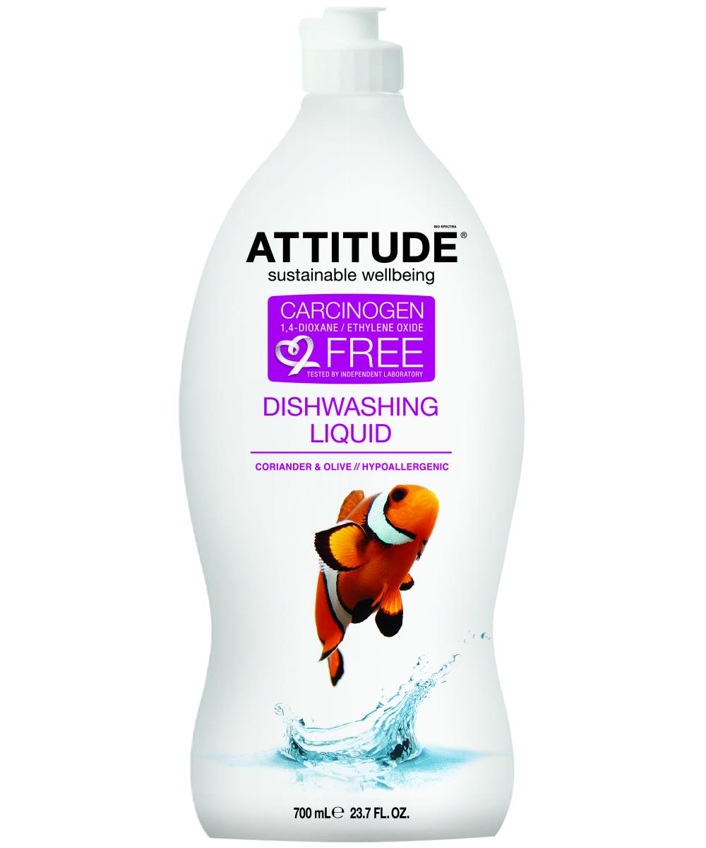Средство для мытья посуды Attitude, кориандр и олива, 700 мл626232131758ATTITUDE. Экологическая жидкость для мытья посуды КОРИАНДР и ОЛИВА 700 мл 100% природные ингредиенты. Не содержит фосфатов, производных хлора, сульфатов, нефтепродуктов, СЛС и красителей. Биоразлагаемый. Не загрязняет водоемы. ГИПОАЛЛЕРГЕННЫЙ ПРОДУКТ. Безопасно для септических танков Сертифицировано EcoLogo (Канада) Состав: Вода, коко глюкозид, миристил глюкозид, лаурил глюкозид, хлорид натрия, натрий глюконат, натрий цитрат, натуральная гипоаллергенная ароматическая композиция Применение: 2 мл на 1 л воды или 15 мл на стандартную раковину. Или нанесите на губку