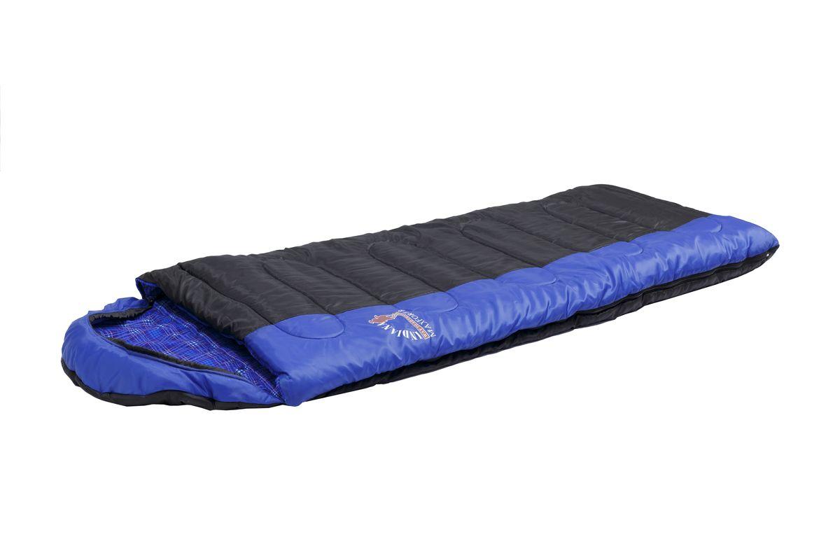 Спальный мешок Indiana Maxfort, правая молния, цвет: синий ,черный, 195 х 35 х 90 см360700043Спальный мешок Maxfort R-zip от -8 C (одеяло с подголов фланель 195+35X90 см). Cпальный мешок-одеяло с капюшоном-подголовником, который можно использовать в путешествиях на природу и повседневной жизни. Отличительной особенностью этой модели, является использования хлопковой фланели в качестве подкладки, что увеличивает комфортность использования спальника. Выпускается как с левой так и с правой молнией, что позволяет соединить два спальник друг с другом.