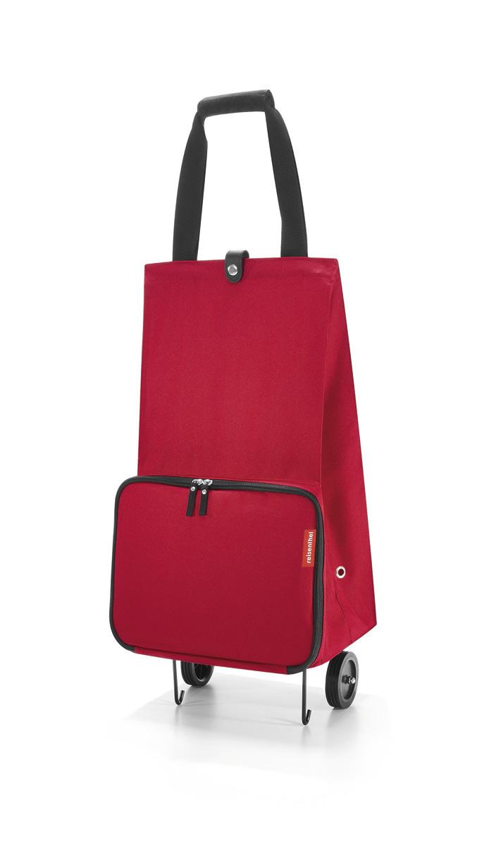 Сумка на колесиках женская Reisenthel Foldabletrolley red, цвет: красный. HK3004HK3004Отличное решение для тех, кто не любит таскать тяжелые сумки и пакеты. С такой сумкой хоть в магазин, хоть на Северный полюс. Главный ее плюс в том, что она складывается до супер-компактного размера, так что ее легко хранить и брать с собой. Размер в сложенном виде: 6,5 х 25 х 32,5 см. Объем - 30 литров. Главное отделение застегивается на кнопку. Ручки удобно соединяются между собой с помощью липучки. Кромки днища специально укреплены и защищены, а само оно устойчиво, так что сумка не падает и не кренится.