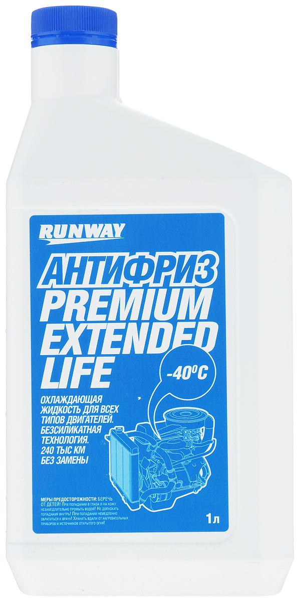 Антифриз Runway Premium Extended Life, цвет: синий, 1 лRW1067Антифриз Runway Premium Extended Life на основе этиленгликоля предназначен для применения в системе охлаждения бензиновых и дизельных двигателей. Средство изготовлено с использованием новейших ингибиторных присадок (карбоксилатная/безсиликатная технология OAT (Organic Acid Technology)), предотвращающих коррозию системы охлаждения и продлевающих срок работы антифриза без ухудшения эксплуатационных свойств до 240000 км пробега автомобиля или 5 лет. Не содержит фосфатов, боратов, нитратов или силикатов. Предохраняет резиновые детали системы охлаждения и сальники помпы от высыхания и растрескивания, содержит пакет антиокислительных и антипенных присадок. Предохраняет металлические части системы охлаждения от кавитационной эрозии и воздействия высоких температур. Обеспечивает диапазон рабочих температур двигателя от -40°С до +135°С. Соответствует американским и международным стандартам. Товар сертифицирован.