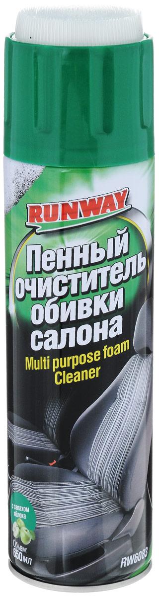 Очиститель обивки салона пенный Runway, с запахом яблока, 650 млRW6083Пенный очиститель обивки салона Runway в аэрозоле с крышкой-щеткой. Предназначен для удаления разнообразных загрязнений и пятен с изделий из ткани, велюра, ковровых покрытий и других материалов. Быстро удаляет даже глубоко въевшуюся грязь. Удаляет неприятные запахи и освежает воздух в салоне автомобиля. Придает материалам антистатические свойства. Очиститель удаляет большинство свежих пятен от чая, кофе, молока, соков, крови, губной помады, машинного масла. Применяется для очистки всего интерьера автомобиля, включая виниловые и пластиковые обивки, панель приборов, молдинги. Товар сертифицирован.