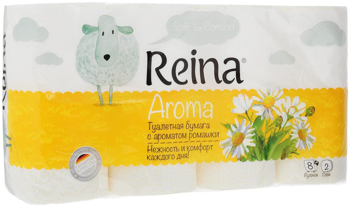 Бумага туалетная Reina Aroma Ромашка, ароматизированная, двухслойная, 8 рулонов77Ароматизированная туалетная бумага Reina Aroma Персик выполнена из натуральной целлюлозы и обладает приятным ароматом ромашки. Двухслойная туалетная бумага мягкая, нежная, но в тоже время прочная. Листы имеют рисунок с перфорацией. Длина рулона: 18 м. Количество листов: 156 шт. Количество слоев: 2. Размер листа: 11,5 х 9,4 см. Состав: 100% целлюлоза.