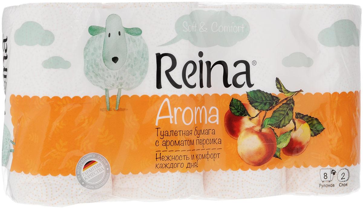 Бумага туалетная Reina Aroma Персик, ароматизированная, двухслойная, 8 рулонов84Ароматизированная туалетная бумага Reina Aroma Персик выполнена из натуральной целлюлозы и обладает приятным ароматом персика. Двухслойная туалетная бумага мягкая, нежная, но в тоже время прочная. Листы имеют рисунок с перфорацией. Длина рулона: 18 м. Количество листов: 156 шт. Количество слоев: 2. Размер листа: 11,5 х 9,4 см. Состав: 100% целлюлоза.