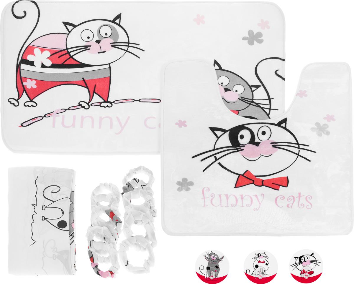 Набор для ванной комнаты Tatkraft Funny Cats, 3 предмета + ПОДАРОК: Крючок адгезивный Tatkraft Funny Cats, 3 шт18075+подарокНабор для ванной комнаты Tatkraft Funny Cats состоит из коврика для ванной, коврика для туалета и шторы для ванной. Коврики выполнены из микрофибры Ultra Soft со специальным противоскользящим основанием и украшены изображением веселых котов. За счет низкой гигроскопичности коврики не теряют своих свойств даже при высокой влажности. Они гипоаллергенны, гигиеничны, не подвержены воздействию микроорганизмов и плесени. Коврики идеально сочетаются со шторой для ванной комнаты, изготовленной из текстиля. Шторка для ванной комнаты выполнена из полиэстера и украшена изображением веселых котов. Штора содержит утяжелитель для отвеса. В комплект входит 12 обшитых тканью колец, исключающих неприятный шум при использовании. Также к набору прилагается подарок в виде трех адгезивных крючков с изображением веселых котов.Крючок может быть установлен только на ровной воздухонепроницаемой поверхности: плитка, стекло, пластик, металл, ламинированное дерево и другие....