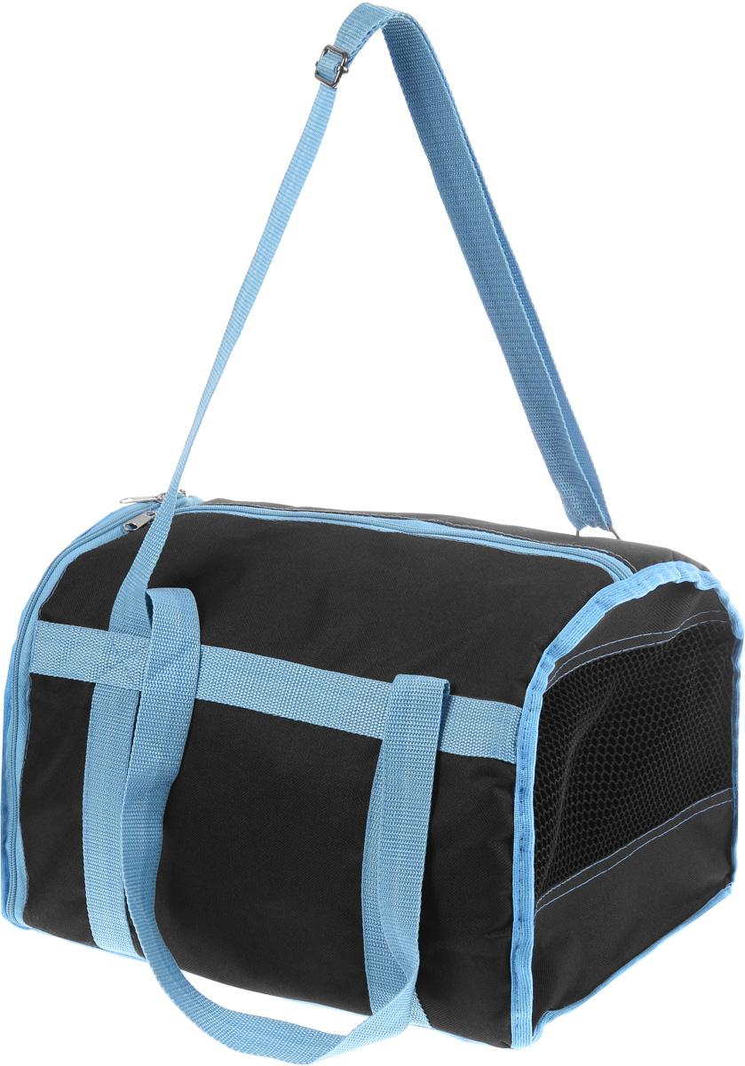 Сумка-переноска для животных Каскад Спорт, цвет: черный, голубой, 40 х 28 х 29 см26000102_черный, голубойТекстильная сумка-переноска Каскад Спорт для собак мелких пород и кошек имеет твердое основание, которое не позволит животному провисать. С одной стороны переноски имеется специальная сетчатая вставка, чтобы ваш любимец мог дышать. С другой стороны сумка закрывается на застежку-молнию. В верхней части изделия есть застежка-молния, открывающая доступ в отделение для необходимых вам вещей. Для удобной переноски у сумки имеются две ручки и регулируемая лямка. При необходимости сумку можно сложить. Сумка-переноска Каскад Спорт понравится вашим домашним любимцам.