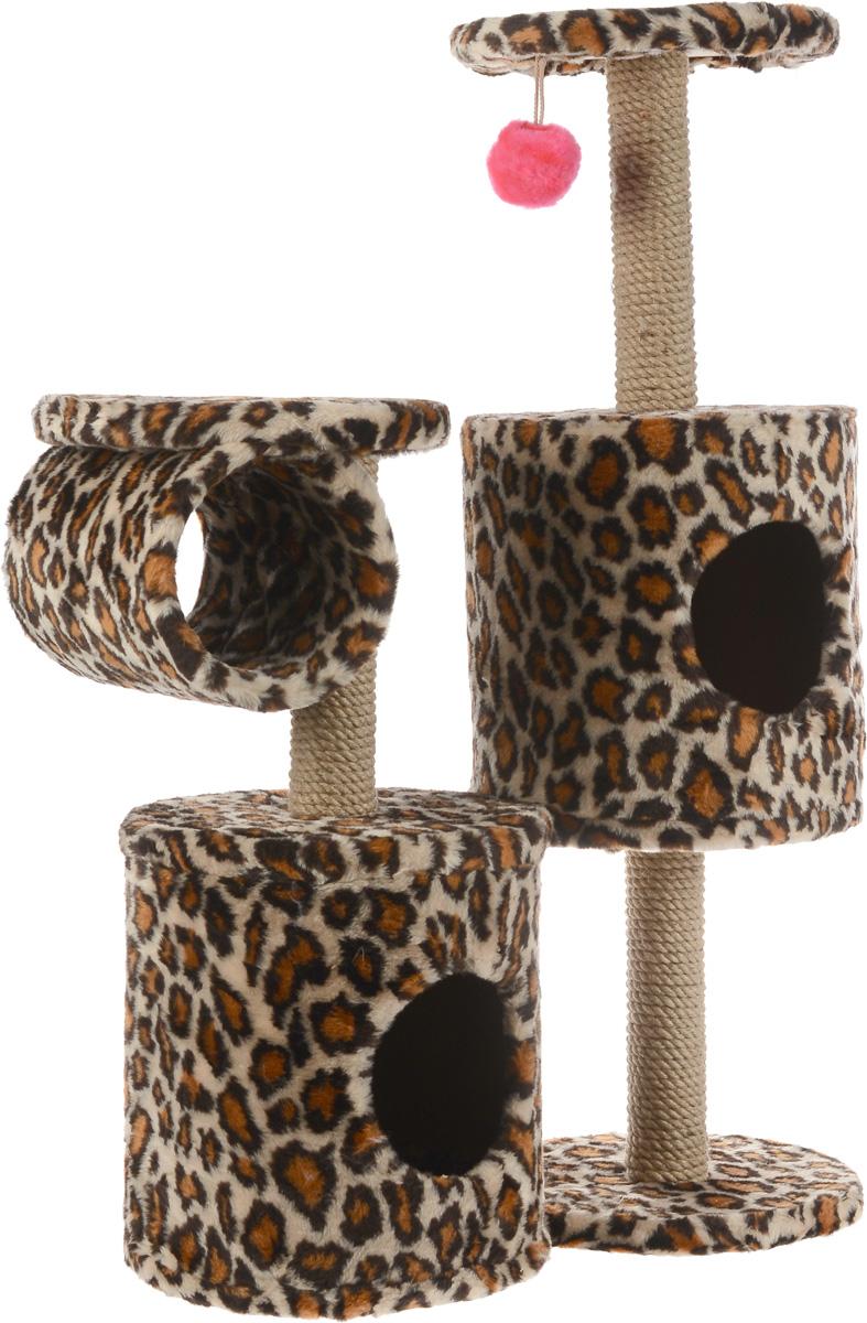 Игровой комплекс для кошек ЗооМарк Базилио, цвет: леопардовый, 70 х 31 х 97 см145_леопардовыйИгровой комплекс для кошек ЗооМарк Базилио выполнен из высококачественного дерева и обтянут искусственным мехом. Изделие предназначено для кошек. Ваш домашний питомец будет с удовольствием точить когти о специальные столбики, изготовленные из джута. А отдохнуть он сможет либо на полках разной высоты, либо в домиках. Также комплекс оснащен подвесной игрушкой, привлекающей внимание кошки. Общий размер: 70 х 31 х 97 см. Размер домиков: 31 х 31 х 32 см. Диаметр полок: 31 см.