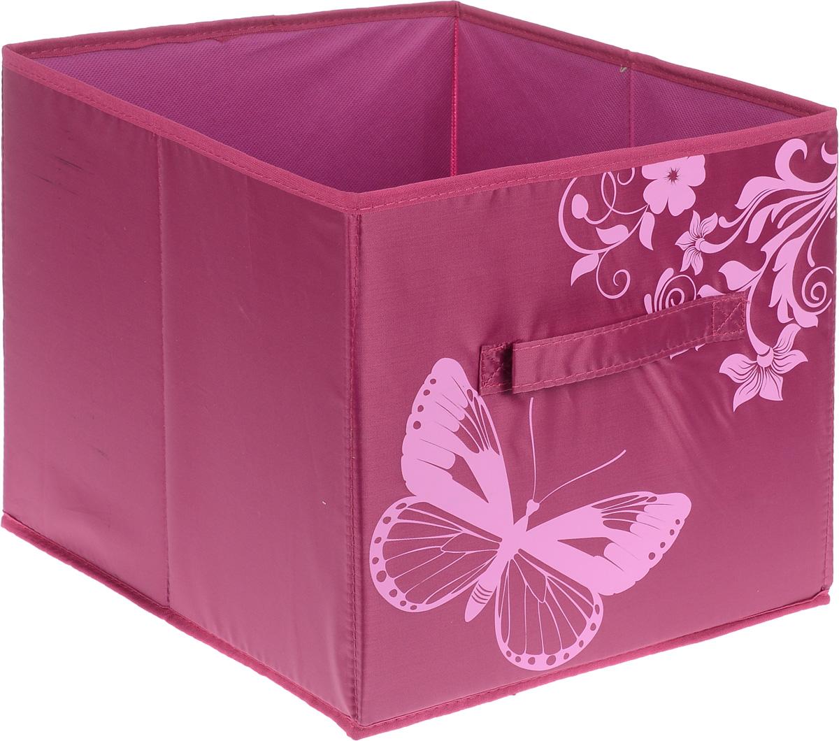 Коробка для хранения Hausmann Butterfly, цвет: фуксия, розовый, 34 х 31 х 29,5 см4P-108-4С_фуксияКоробка для хранения Hausmann Butterfly поможет легко организовать пространство в шкафу или в гардеробе. Изделие выполнено из нетканого материала и полиэстера с защитой от пыли. Коробка держит форму благодаря жесткой вставке из картона, которая устанавливается на дно. Боковая поверхность оформлена красивым принтом и изображением бабочки. В такой коробке удобно хранить одежду, текстиль, нижнее белье и различные аксессуары. Коробка может быть использована как выдвижной ящик, имеется ручка.