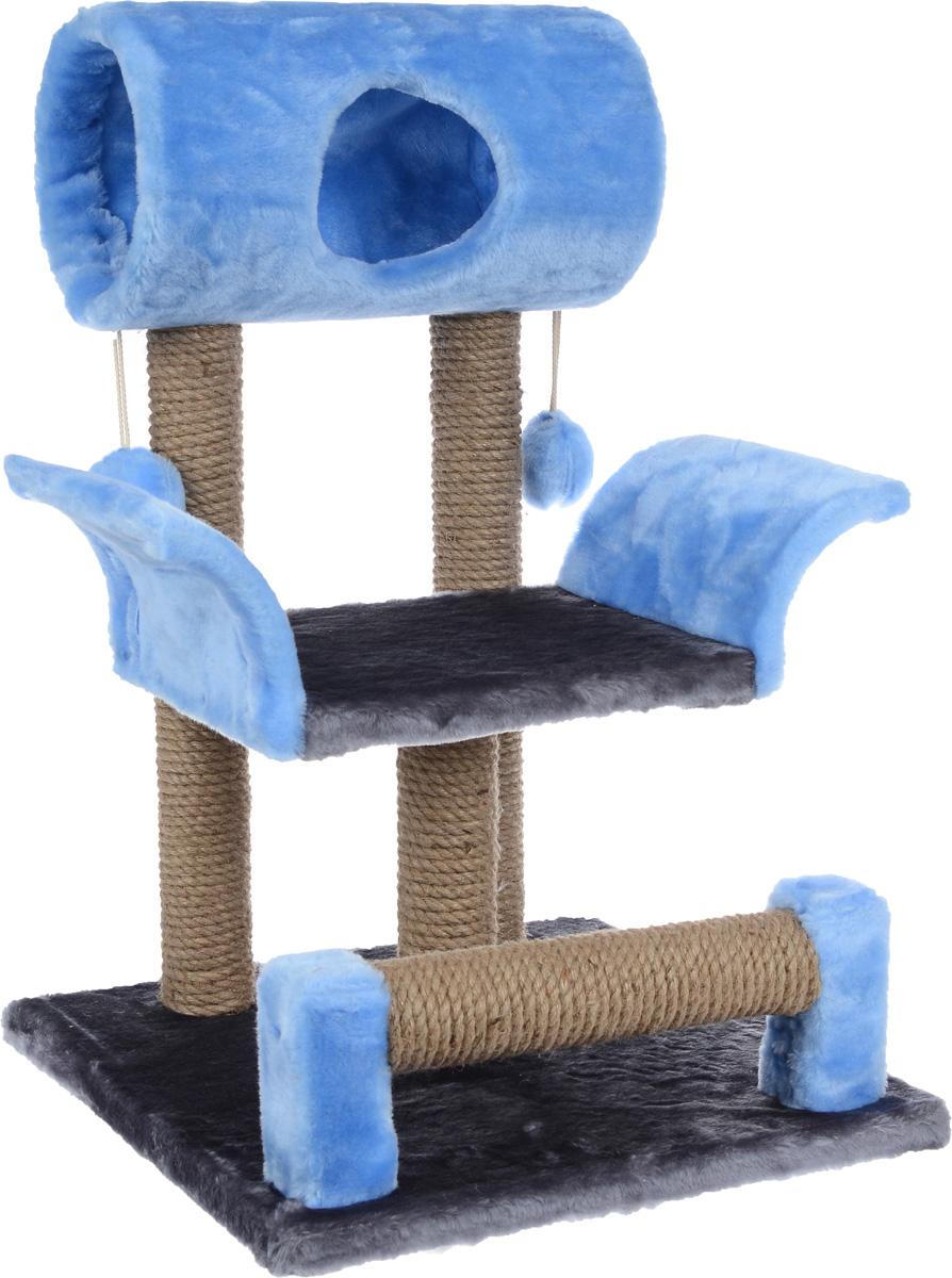 Когтеточка ЗооМарк Васька, цвет: серый, голубой, 71 х 45 х 53 см144_серый, голубойКогтеточка Васька поможет сохранить мебель и ковры в доме от когтей вашего любимца, стремящегося удовлетворить свою естественную потребность точить когти. Когтеточка изготовлена из дерева, искусственного меха и джута. Товар продуман в мельчайших деталях и, несомненно, понравится вашей кошке. Сверху имеется несколько висячих игрушек, которые привлекут питомца. Всем кошкам необходимо стачивать когти. Когтеточка - один из самых необходимых аксессуаров для кошки. Для приучения к когтеточке можно натереть ее сухой валерьянкой или кошачьей мятой. Когтеточка поможет вашему любимцу стачивать когти и при этом не портить вашу мебель. Диаметр домика: 20 см Длина полки: 33 см Размер когтеточки: 71 см х 45 см х 53 см
