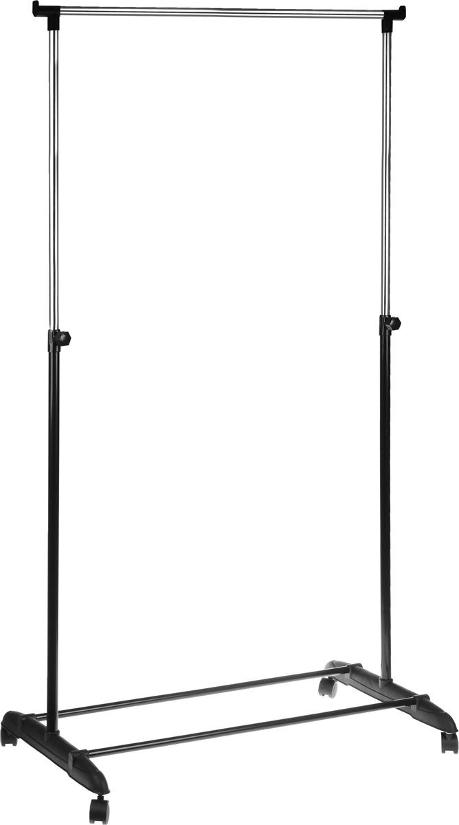 Вешалка напольная HomeMaster, цвет: черный, серебристый, 81 х 40 см, 94-160 смEB2041Удобная и компактная напольная вешалка HomeMaster имеет стильный дизайн и практична в использовании. Вешалка изготовлена из хромированной трубы (диаметр 22 мм и 19 мм) и пластика. Высота изделия регулируется при помощи телескопической системы. Модель установлена на колесные опоры, позволяющие с удобством транспортировать изделие. Регулируемая высота: 94-160 см.