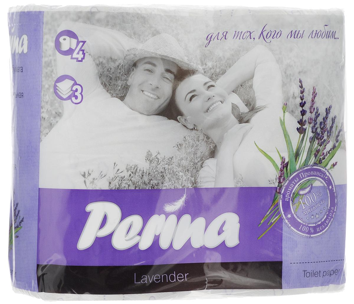 Бумага туалетная Perina Lavander, ароматизированная, трехслойная, 4 рулона152Ароматизированная туалетная бумага Perina Lvander выполнена из натуральной целлюлозы и обладает приятным ароматом лаванды. Трехслойная туалетная бумага мягкая, нежная, но в тоже время прочная. Листы имеют рисунок с перфорацией. Длина рулона: 18,8 м. Количество листов: 150 шт. Количество слоев: 3. Размер листа: 12,5 х 9,4 см. Состав: 100% целлюлоза.