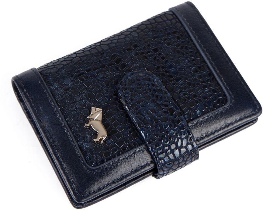 Визитница Labbra L043-5589 d.blueL043-5589Визитница торговый марки LABBRA из натуральной кожи. Модель вмещает 26 визитных карточек, имеется потайной кармашек. Закрывается на кнопку.