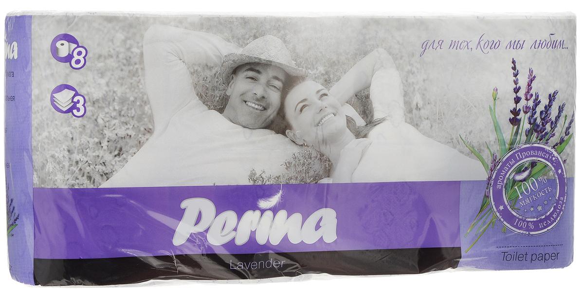 Бумага туалетная Perina Lavander, ароматизированная, трехслойная, 8 рулонов169Ароматизированная туалетная бумага Perina Lvander выполнена из натуральной целлюлозы и обладает приятным ароматом лаванды. Трехслойная туалетная бумага мягкая, нежная, но в тоже время прочная. Листы имеют рисунок с перфорацией. Длина рулона: 18,8 м. Количество листов: 150 шт. Количество слоев: 3. Размер листа: 12,5 х 9,4 см. Состав: 100% целлюлоза.
