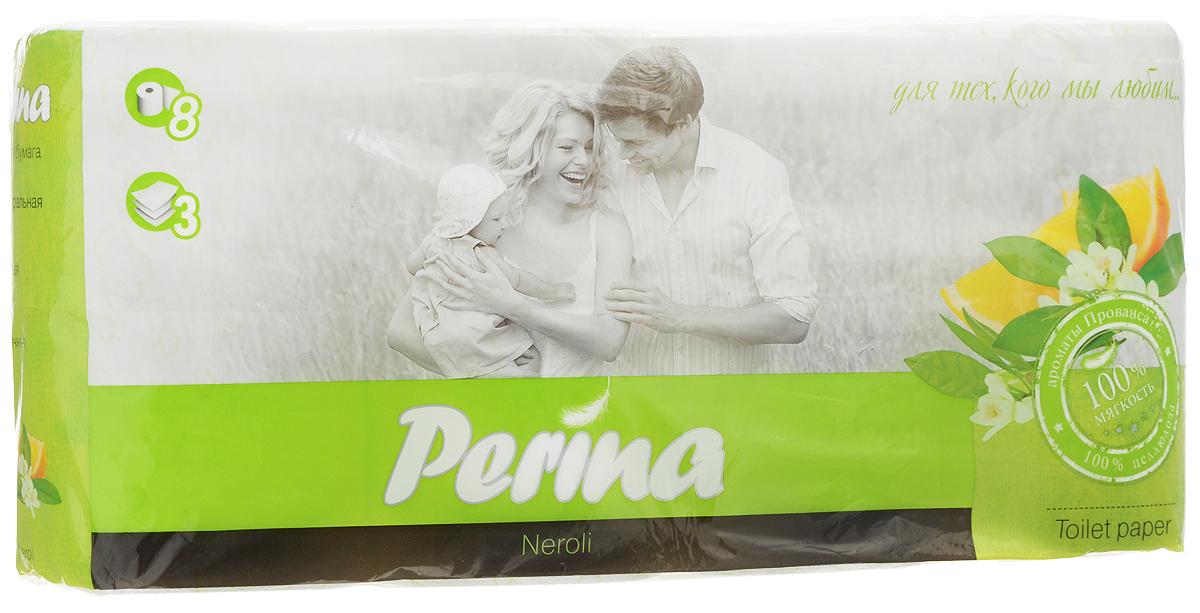Бумага туалетная Perina Neroli, ароматизированная, трехслойная, 8 рулонов206Ароматизированная туалетная бумага Perina Neroli выполнена из натуральной целлюлозы и обладает приятным ароматом. Трехслойная туалетная бумага мягкая, нежная, но в тоже время прочная. Листы имеют рисунок с перфорацией. Длина рулона: 18,8 м. Количество листов: 150 шт. Количество слоев: 3. Размер листа: 12,5 х 9,4 см. Состав: 100% целлюлоза.