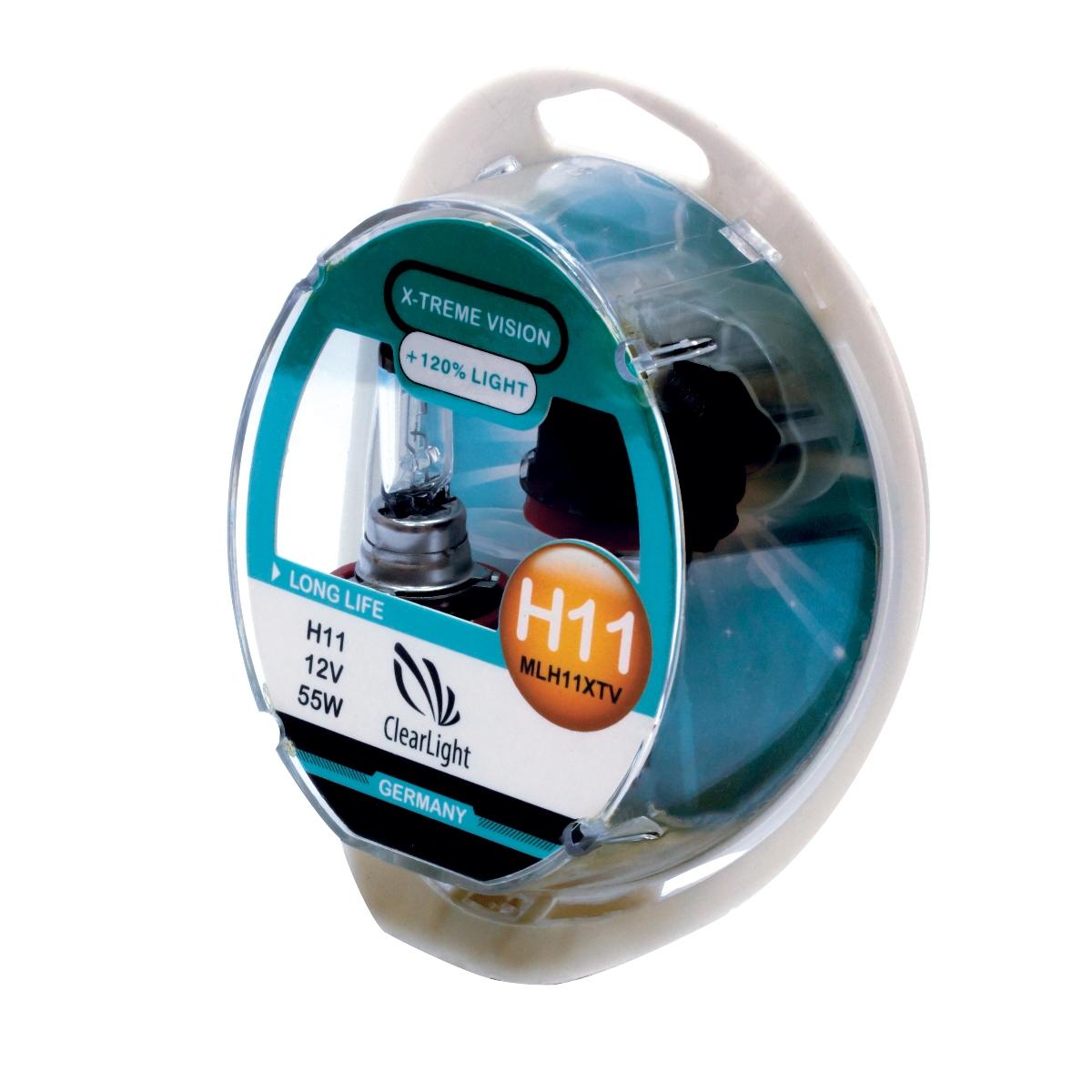Лампа автомобильная галогенная Clearlight H11 X-treme Vision +120% Light, 2 штMLH11XTV120X-treme Vision Дает увеличенный на 120% световой поток по сравнению со стандартными лампами, сохранив регламентированные стандарты мощности за счет увеличения длины нити накаливания, дополнительных витков спирали и специального состава газа в колбе. Цветовая температура смещена в сектор белого света, вместо желтоватого оттенка. Оптимальна для прохождения техосмотра и идеально подходит как для линзованной оптики, так и для обычных отражателей FF.