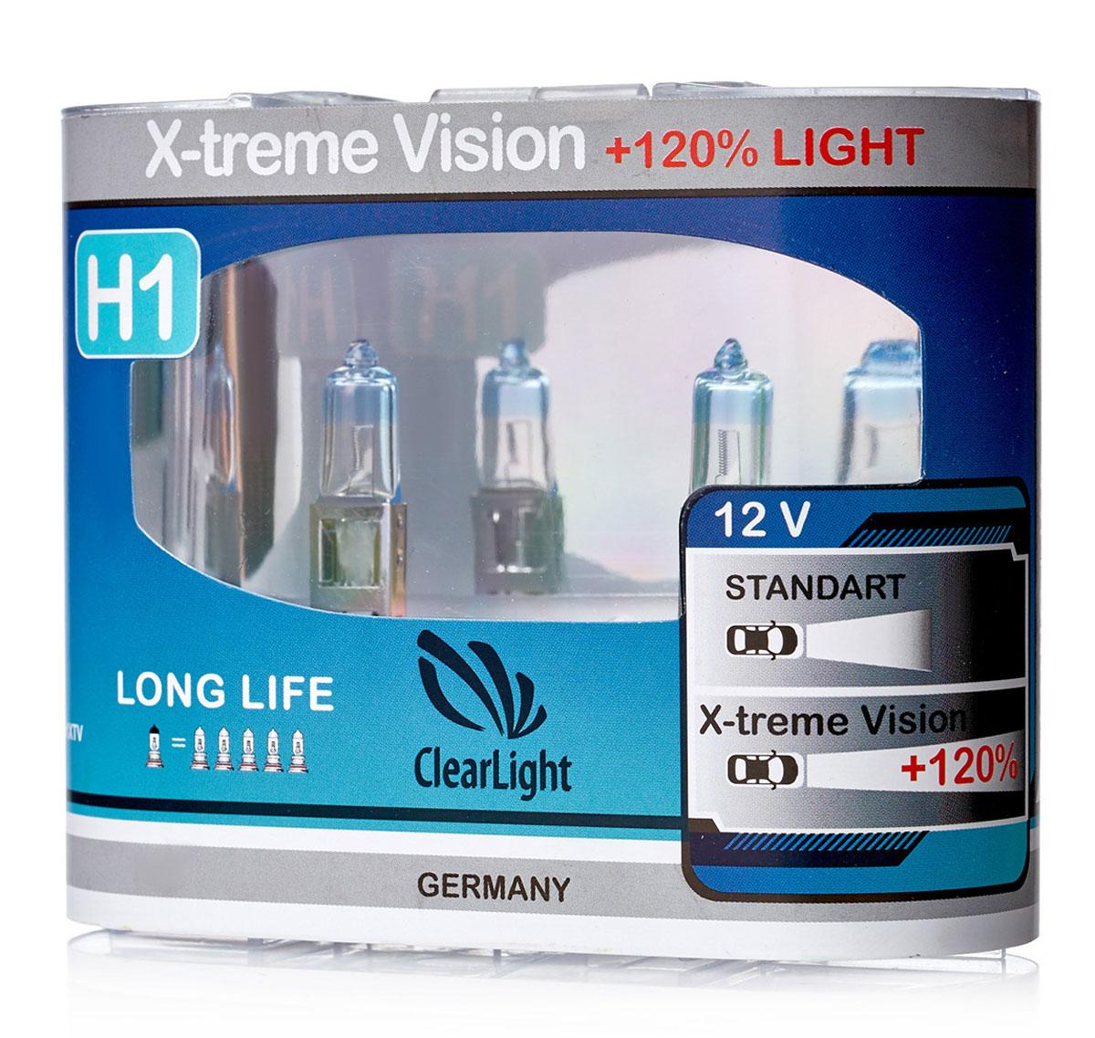 Лампа автомобильная галогенная Clearlight H1 X-treme Vision +120% Light, 2 штMLH1XTV120X-treme Vision Дает увеличенный на 120% световой поток по сравнению со стандартными лампами, сохранив регламентированные стандарты мощности за счет увеличения длины нити накаливания, дополнительных витков спирали и специального состава газа в колбе. Цветовая температура смещена в сектор белого света, вместо желтоватого оттенка. Оптимальна для прохождения техосмотра и идеально подходит как для линзованной оптики, так и для обычных отражателей FF.