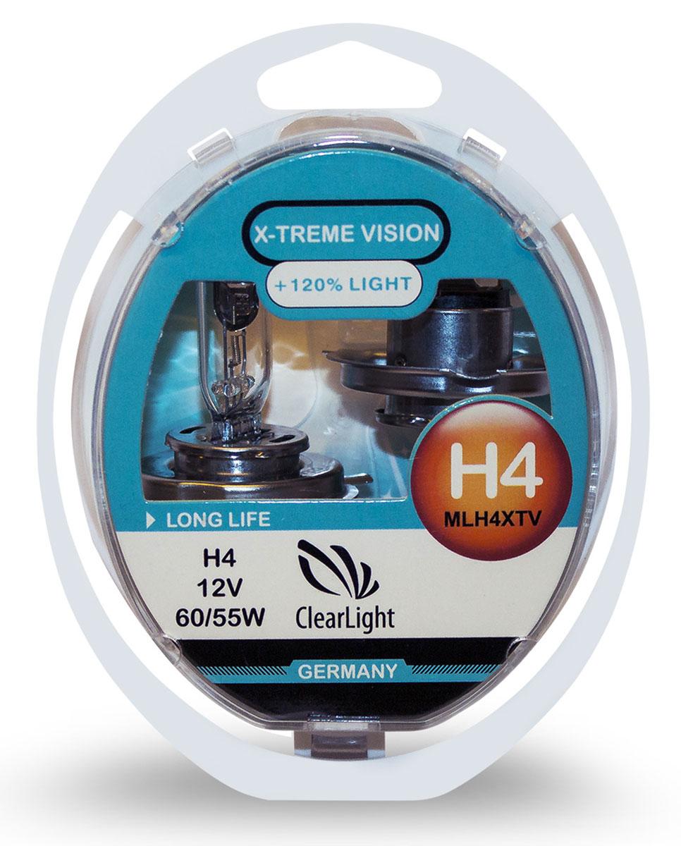 Лампа автомобильная галогенная Clearlight H4 X-treme Vision +120% Light, 2 штMLH4XTV120X-treme Vision Дает увеличенный на 120% световой поток по сравнению со стандартными лампами, сохранив регламентированные стандарты мощности за счет увеличения длины нити накаливания, дополнительных витков спирали и специального состава газа в колбе. Цветовая температура смещена в сектор белого света, вместо желтоватого оттенка. Оптимальна для прохождения техосмотра и идеально подходит как для линзованной оптики, так и для обычных отражателей FF.