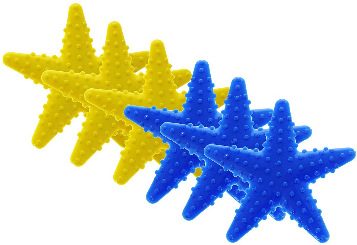 Valiant Мини-коврик для ванной комнаты Морская звезда на присосках цвет желтый синий 6 шт9918BМини-коврик для ванной комнаты Valiant Морская звезда - это модный и экономичный способ сделать вашу ванную комнату более уютной, красивой и безопасной. В наборе представлены 6 мини-ковриков в виде синих и желтых морских звезд. Коврики прочно крепятся на любую гладкую поверхность с помощью присосок. Расположите коврик там, где вам необходимо яркое цветовое пятно и надежная противоскользящая опора - на поверхности ванной, на кафельной стене или стенке душевой кабины, на полу - как дополнение вашего коврика стандартного размера. Мини-коврики Valiant незаменимы при купании маленького ребенка: он не поскользнется и не упадет, держась за мягкую и приятную на ощупь рифленую поверхность коврика. Рекомендации по уходу: после использования тщательно смойте остатки мыла или других косметических средств с коврика.