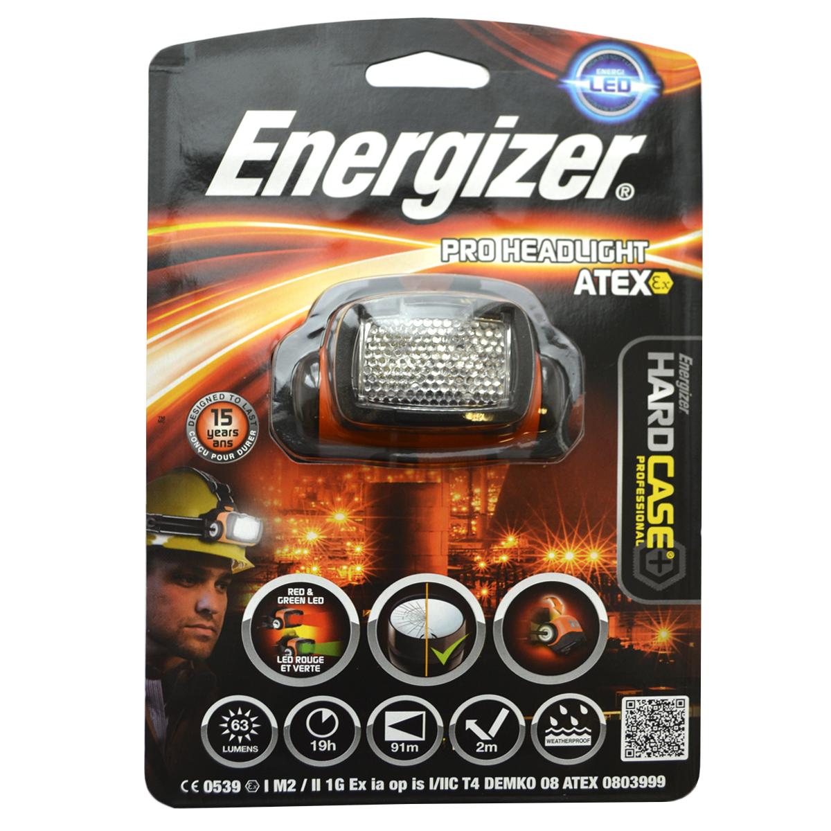 Налобный фонарь Energizer ATEX HL6320261-й класс, 1-й разряд Поворотный световой блок позволяет направлять луч туда, куда нужно Поддерживает четыре режима свечения – сильный и слабый белый, красный для ночного видения и зеленый для осмотра Убирающиеся линзы, рассеивающие направленный свет, чтобы обеспечить яркое зональное освещение Расположенный сзади батарейный блок равномерно распределяет вес для комфортного ношения Нескользящий ремень надежно фиксирует фонарь Чрезвычайно длительный срок службы – рассчитан на 15 лет Безосколочные линзы Работает от 3 батареек типоразмера AA