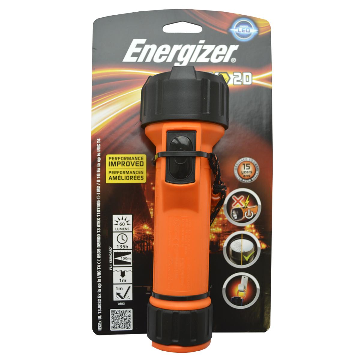 Ручной фонарь Energizer ATEX 2xD excl (MS2DLED1)E3002781001-й класс, 1-й разряд Высокая ударопрочность Встроенный зажим-карабин для крепления на ремень Простой в использовании кнопочный выключатель Устойчивый к воздействию масел и смазки водонепроницаемый корпус Чрезвычайно длительный срок службы – рассчитан на 15 лет 2 модели: под батарейки типоразмера D (2 шт.) и AA (2 шт.) Работает от 2 батареек типоразмера D