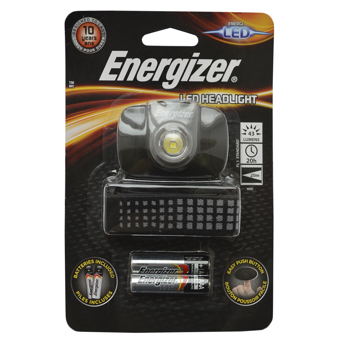 Фонарь налобный Energizer LED Headlight. E300370900E300370900Компактного размера Легкий для комфортного использования Регулируемый ремешок Удобный переключатель включения/выключения Решение на каждый день, позволяющее держать руки свободными Работает на 2 батарейках типоразмера AAA (входят в комплект)