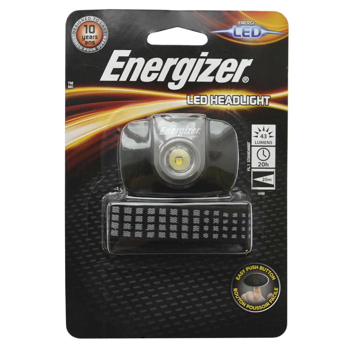 Фонарь налобный Energizer LED Headlight. E300371000E300371000Компактного размера Легкий для комфортного использования Регулируемый ремешок Удобный переключатель включения/выключения Решение на каждый день, позволяющее держать руки свободными Работает на 2 батарейках типоразмера AAA (входят в комплект)