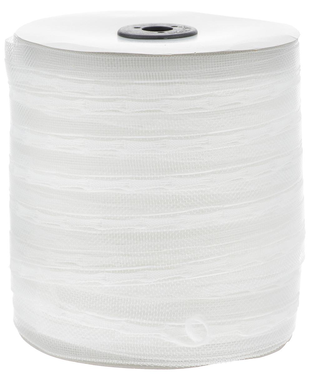 Тесьма для штор ТД Текстиль Классика, цвет: прозрачный, 2,5 см х 100 м46035Тесьма для штор ТД Текстиль Классика выполнена из 100% полиэстера. Тесьма для штор - это лента, имеющая вид тканой или сетчатой полоски, в которой через определенные интервалы протянуты плотные нити или шнуры, которые и отвечают за ритм и шаг полученных складок. Используя тесьму, можно драпировать почти все виды штор: тюль, портьеры, гардины, ламбрекены и занавески. Длина тесьмы: 100 м. Ширина тесьмы: 2,5 см.