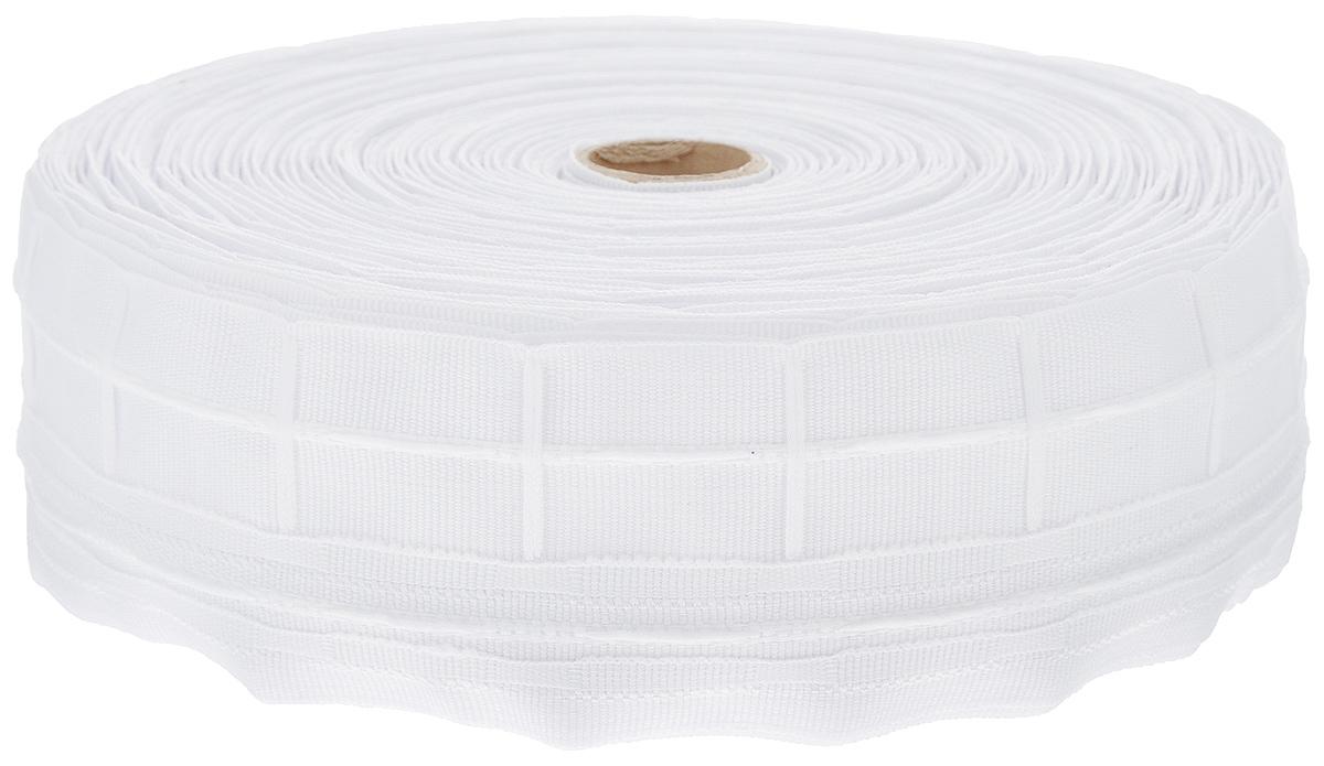 Тесьма для штор ТД Текстиль Классика, цвет: белый, 6 см х 50 м. 4603846038Тесьма для штор ТД Текстиль Классика выполнена из 100% полиэстера. Тесьма для штор - это лента, имеющая вид тканой или сетчатой полоски, в которой через определенные интервалы протянуты плотные нити или шнуры, которые и отвечают за ритм и шаг полученных складок. Используя тесьму, можно драпировать почти все виды штор: тюль, портьеры, гардины, ламбрекены и занавески. Длина тесьмы: 50 м. Ширина тесьмы: 6 см.