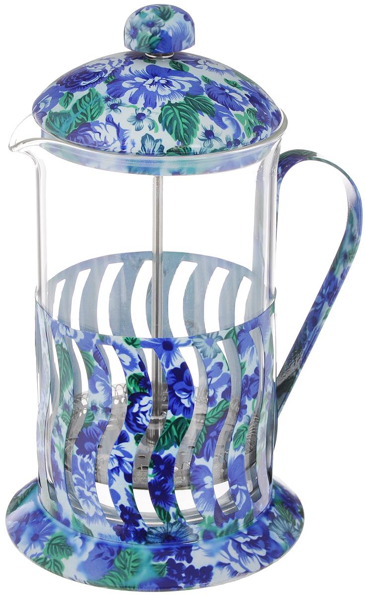 Кофейник MB 0,8л с поршн стек/колб цвет(х12), цвет: голубой, синий20030_голубой, синий