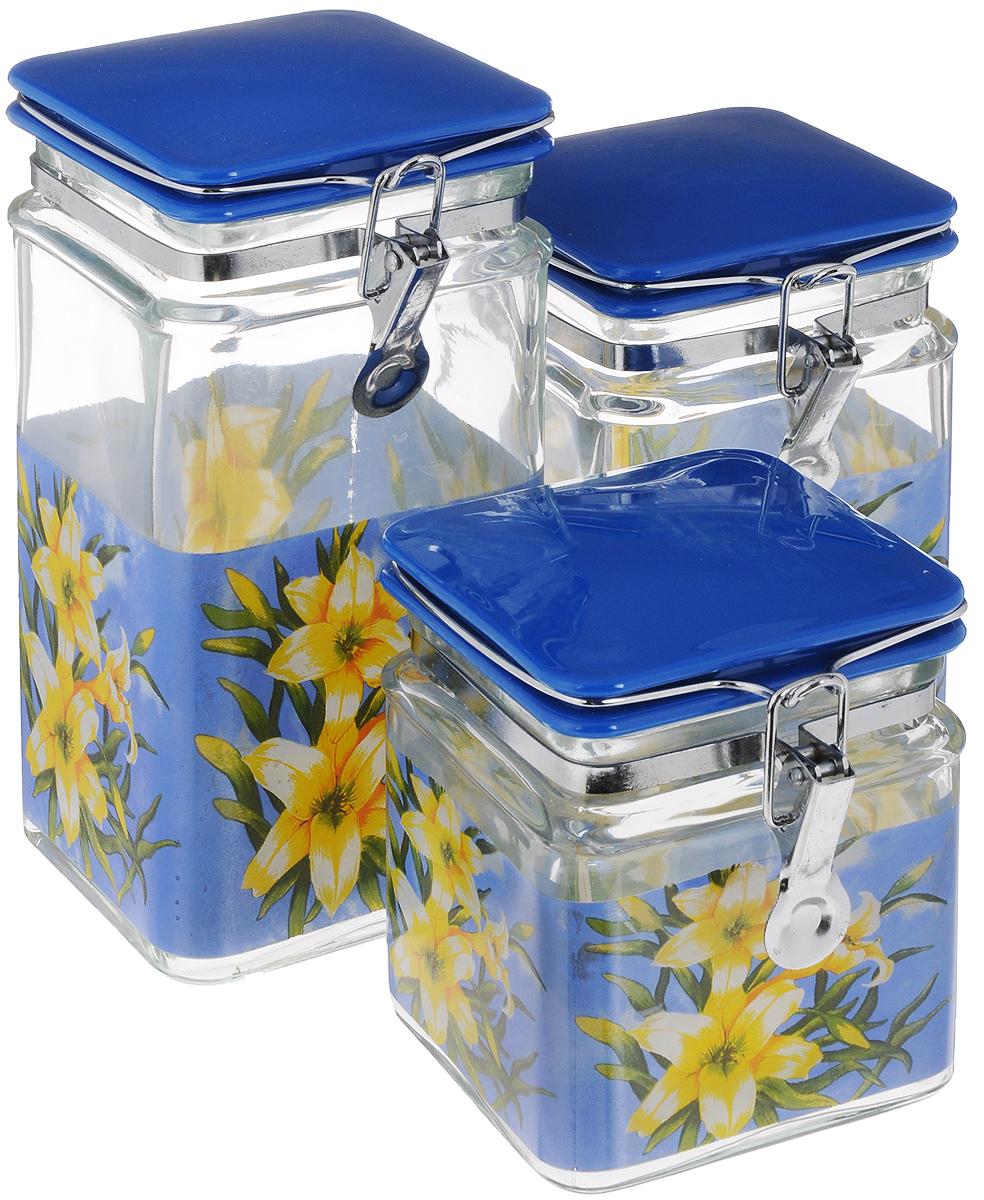 Набор банок для сыпучих продуктов Loraine, цвет: синий, прозрачный, 3 шт. 23592359_синий, прозрачный