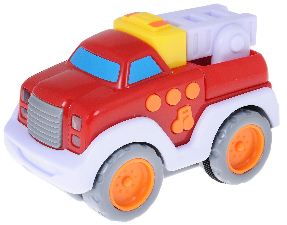Navystar Пожарная машинка с лестницей инерционная68005-FЯркая пожарная машинка привлечет внимание вашего малыша и не позволит ему скучать! Выполненная из безопасного пластика игрушка представляет собой машинку с пожарной лесенкой. Округлые, без острых углов, формы гарантируют безопасность даже самым маленьким. Игрушка оснащена инерционным механизмом. Для запуска установите игрушку на поверхность, нажмите на желтую кнопку вверху машинки, и она поедет вперед. При нажатии на круглые кнопки сбоку машины, слышны звуки работающего автомобиля. При нажатии на боковую кнопку с нотами, появляются световые и звуковые эффекты. Машинка может проигрывать 3 звука и 15 разных мелодий. Игрушка поможет ребенку в развитии воображения, мелкой моторики рук и цветового восприятия. Сделайте вашему малышу такой замечательный подарок! Для работы требуются 3 батарейки типа LR44 (комплектуется демонстрационными).