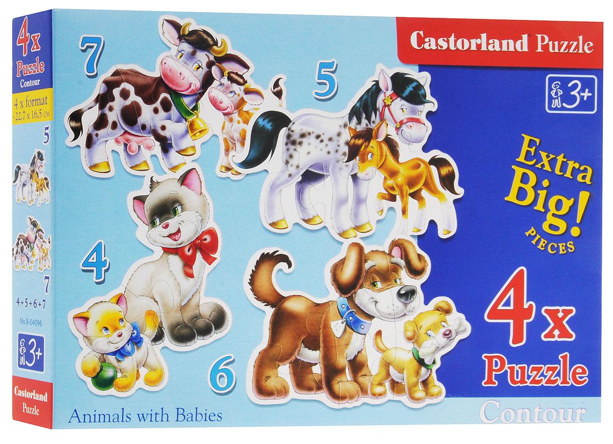 Castorland Пазл Животные 4 в 1В-04096Пазл Castorland Животные, без сомнения, придется по душе вашему ребенку. В комплект входят четыре пазла в виде фигурок взрослых зверушек и их детенышей. Пазлы включают в себя 4, 5, 6 и 7 элементов. Пазлы - замечательная развивающая игра для детей. Собирание пазла развивает у ребенка мелкую моторику рук, тренирует наблюдательность, логическое мышление, знакомит с окружающим миром, с цветом и разнообразными формами, учит усидчивости и терпению, аккуратности и вниманию.
