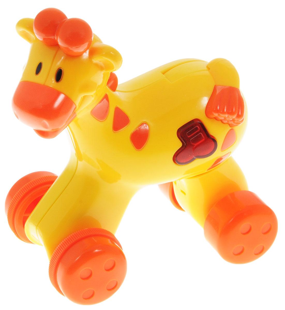 Navystar Музыкальная игрушка-каталка Жираф68081-T-GМузыкальная игрушка-каталка Navystar Жираф привлечет внимание вашего малыша и не оставит его равнодушным. Игрушка выполнена из прочного пластика в виде забавного жирафа. На теле игрушки имеется кнопочка в виде нот, при нажатии на которую воспроизводятся разные мелодии и мигает огонек в кнопочке. Музыкальная игрушка- каталка воспроизводит 40 различных мелодий. Игрушка также оснащена механизмом Press n Go. Если нажать на спину зверушке, она быстро поедет вперед. Музыкальная игрушка-каталка Navystar Жираф поможет малышу развить цветовое и звуковое восприятие, координацию движений и мышление. Для работы игрушки необходимы 3 батарейки типа AG13 (LR44) напряжением 1,5V (товар комплектуется демонстрационными).