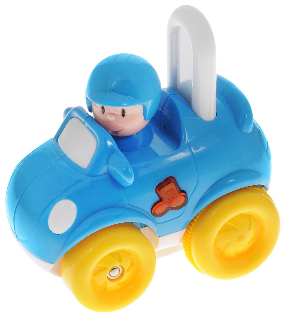 Navystar Гоночная машинка инерционная68071-T-RИнерционная гоночная машинка Navystar привлечет внимание вашего малыша и не оставит его равнодушным. Игрушка выполнена из прочного пластика в виде гоночной машинки с водителем. Сбоку игрушки имеется кнопочка в виде нот, при нажатии на которую воспроизводятся разные мелодии, звучит рев мотора и мигает огонек в кнопочке. Музыкальная игрушка-каталка воспроизводит 20 различных мелодий. Игрушка оснащена инерционным механизмом: если отвести машинку назад, а затем отпустить, она быстро поедет вперед. Если надавить на спинку сиденья позади водителя, машинка также поедет самостоятельно. Инерционная гоночная машинка Navystar поможет малышу развить цветовое и звуковое восприятие, координацию движений и мышление. Для работы игрушки необходимы 3 батарейки типа AG13 (LR44) напряжением 1,5V (товар комплектуется демонстрационными).