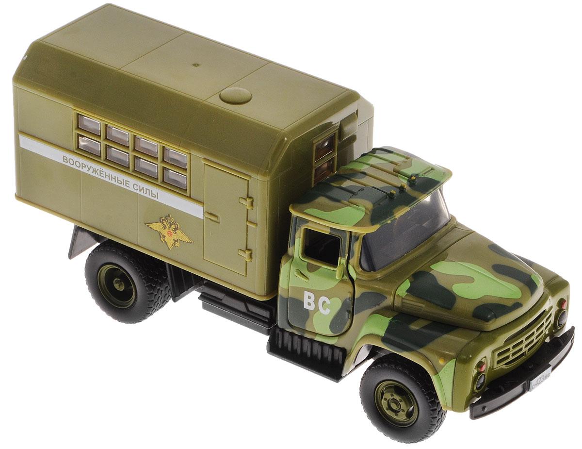ТехноПарк Грузовик ЗИЛ 130 Вооруженные силыX600-H09117-RИнерционная машинка ТехноПарк ЗИЛ 130 Вооруженные силы, выполненная из пластика, станет любимой игрушкой вашего малыша. Игрушка представляет собой модель армейского автомобиля марки ЗИЛ. У машинки открываются дверцы кабины, капот, а также дверцы кузова. При открывании крышки капота и дверей кабины активируются световые и звуковые эффекты. Игрушка оснащена инерционным ходом. Достаточно немного подтолкнуть машинку вперед или назад, а затем отпустить - и она быстро поедет в том же направлении. Прорезиненные колеса обеспечивают надежное сцепление с любой гладкой поверхностью. Ваш ребенок будет часами играть с этой машинкой, придумывая различные истории. Порадуйте его таким замечательным подарком! Для работы игрушки необходимы 3 батарейки типа АG13 (LR44) напряжением 1,5V (товар комплектуется демонстрационными).
