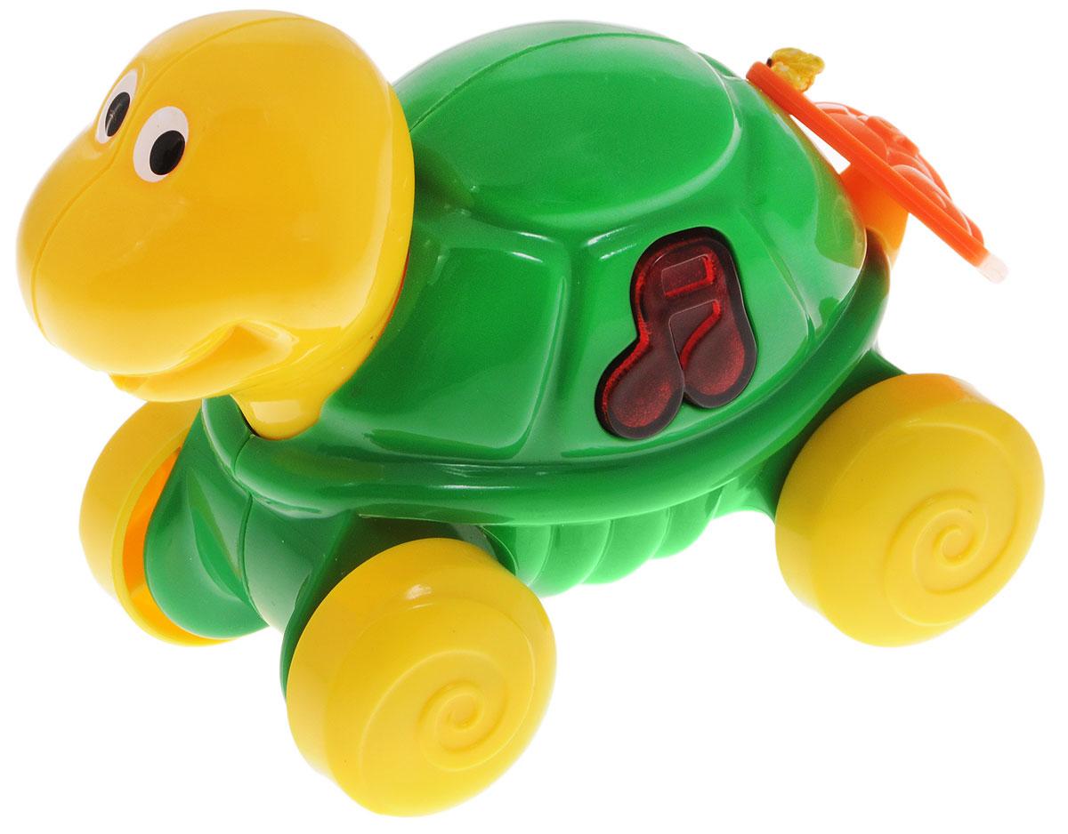 Navystar Музыкальная игрушка-каталка Черепаха69039-T-TМузыкальная игрушка-каталка Navystar Черепаха привлечет внимание вашего малыша и не оставит его равнодушным. Игрушка выполнена из прочного пластика в виде забавной черепашки. На теле игрушки имеется кнопочка в виде нот, при нажатии на которую воспроизводятся разные мелодии и мигает огонек в кнопочке. Игрушка воспроизводит 16 различных мелодий. Если потянуть за пластиковый квадратик позади игрушки, а затем отпустить, каталка сама поедет вперед. Музыкальная игрушка-каталка Navystar Черепаха поможет малышу развить цветовое и звуковое восприятие, координацию движений и мышление. Для работы игрушки необходимы 3 батарейки типа AG13 (LR44) напряжением 1,5V (товар комплектуется демонстрационными).