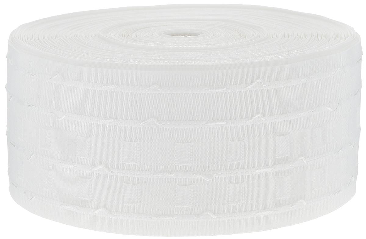 Тесьма для штор ТД Текстиль Бокалы, цвет: белый, 10 х 5000 см87775Тесьма для штор ТД Текстиль Бокалы выполнена из 100% полиэстера. Тесьма для штор - это лента, имеющая вид тканой или сетчатой полоски, в которой через определенные интервалы протянуты плотные нити или шнуры, которые и отвечают за ритм и шаг полученных складок. Используя тесьму, можно драпировать почти все виды штор: тюль, портьеры, гардины, ламбрекены и занавески. Длина тесьмы: 50 м. Ширина тесьмы: 10 см.