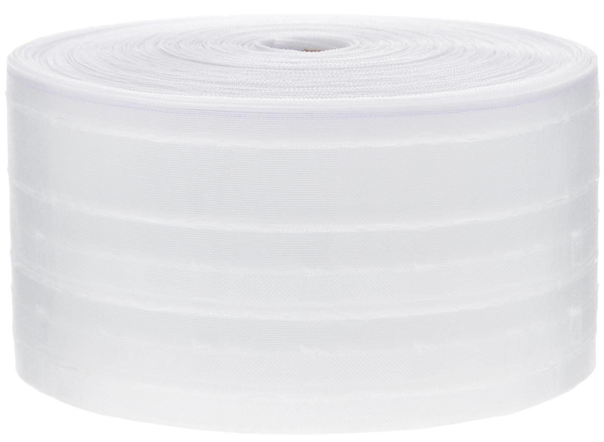Тесьма для штор ТД Текстиль Бокалы, цвет: прозрачный, 10 х 5000 см86927Тесьма для штор ТД Текстиль Бокалы выполнена из 100% полиэстера. Тесьма для штор - это лента, имеющая вид тканой или сетчатой полоски, в которой через определенные интервалы протянуты плотные нити или шнуры, которые и отвечают за ритм и шаг полученных складок. Используя тесьму, можно драпировать почти все виды штор: тюль, портьеры, гардины, ламбрекены и занавески. Длина тесьмы: 50 м. Ширина тесьмы: 10 см.